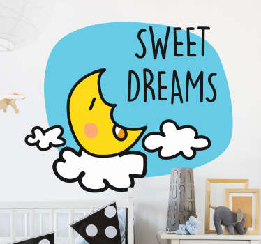 Kids Stickers - A half moon wall sticker to help your toddler go to sleep at night. Make sure they go to sleep with the moon over their cot that gives them sweet dreams.