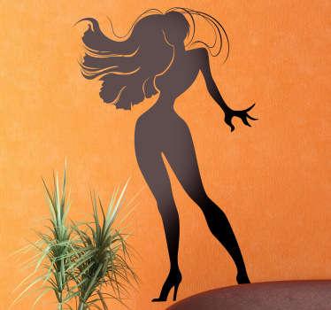 Sticker decorativo ragazza chioma lunga