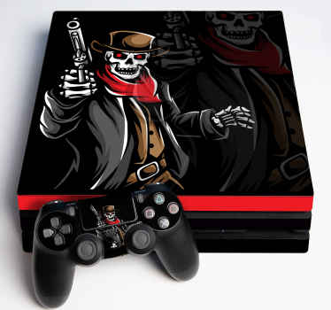 Gunslinger reaper PS4 sticker for lovers of gaming character illustration. Proof to wrinkle, self adhesive and does not fade.