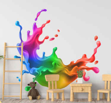 Splash rainbow paint wall art sticker - What an amazing colorful design to install the realistic look of a colour paint splash on your space.