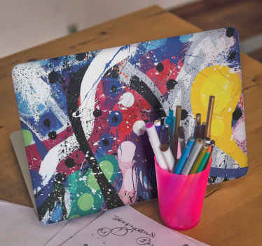 Let your laptop stand out in funky colour painting illustration with this amazing abstract painted splash laptop skin sticker.