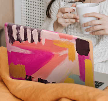 Black and pink modern splash laptop skin decal - Design for those who just long abstract paintings, this would wrap your laptop with the art you love.