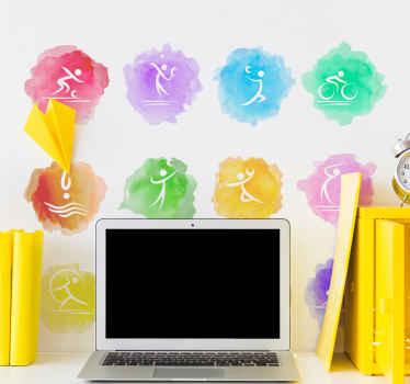 Conjuntos de fondo colorido de salpicaduras de dolor con silueta de diferentes ilustraciones deportivas como ciclismo, golf, balonmano, tenis y más.