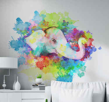 A very colorful splash painted wild elephant animal decal decoration for your home and other places.  It is durable and easy to apply.