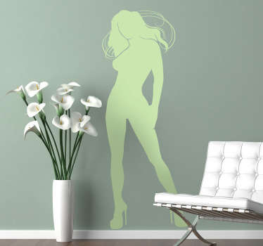 Wall Stickers - Elegant design of a silhouette of a young woman with long hair and legs.Ideal for decorating your home or business.