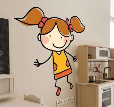 Wall Stickers - Sketch of a slim girl with her hair in pigtails. Original design ideal for adding a distinctive look to your room.