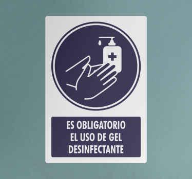 """Pegatina señal que cita """"el uso de gel es obligatorio"""" para que señalices la obligación en tu negocio. Elige medidas ¡Envío exprés!"""