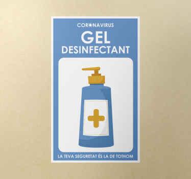 Pegatina advertencia sobre el uso de gel y la seguridad común en catalán. El diseño tiene un icono de una botella de gel desinfectante.