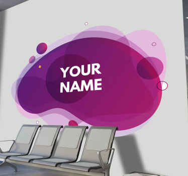 A personalized geometric shape decal made in gradient purple and pink colour. This would enhance the look on any space in a great way.