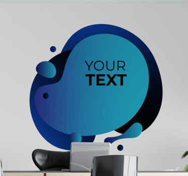 Customize your own text on our decorative gradient blue shape sticker design imitating bubbles.  It is customizable to any size.