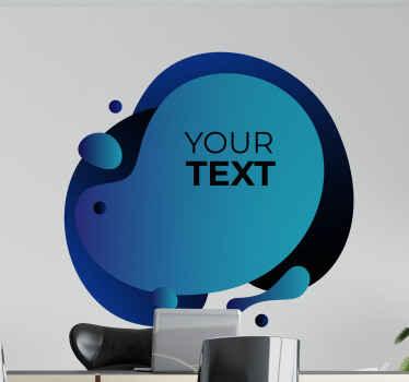 泡を模倣した装飾的なグラデーションの青い形のステッカーデザインで、独自のテキストをカスタマイズします。任意のサイズにカスタマイズできます。