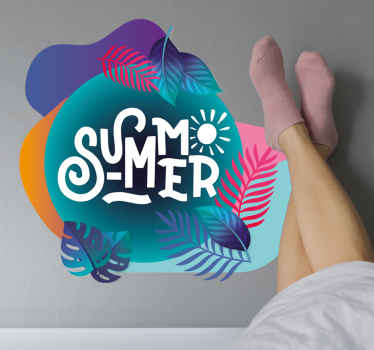 Decorative summer tropical leaves on abstract colorful background to bring a lovely look on your home space.  It is self adhesive and durable.