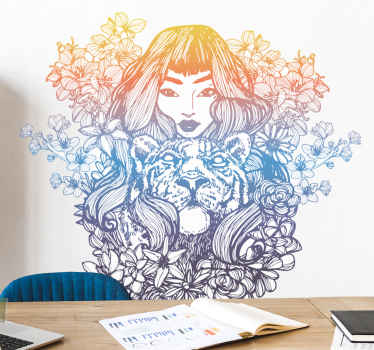 Improve the appearance on any space with this decorative celtic woman gradient colour sticker.  Made of quality material and easy to apply.