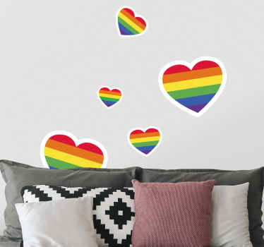 This rainbow stickers in the shape of heart that would be perfect for your bedroom!It will revive the tones of your place and display your conviction.