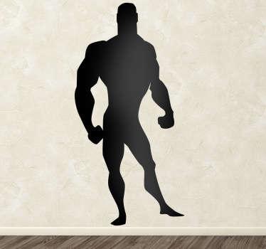 Sticker enfant ombre homme musclé BD