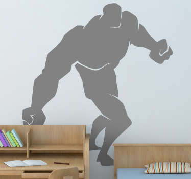 Kids Wall Stickers - Comic style silhouette illustration of a strong male character with big tight fists.
