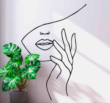 Minimalist face hand people sticker to decorate any space with an aesthetic touch. The colour and size is customizable and it is easy to apply.