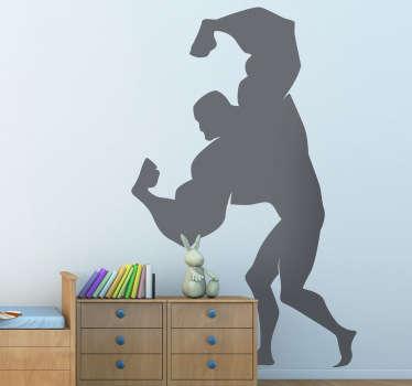 Adesivo bambini silhouette forzuto