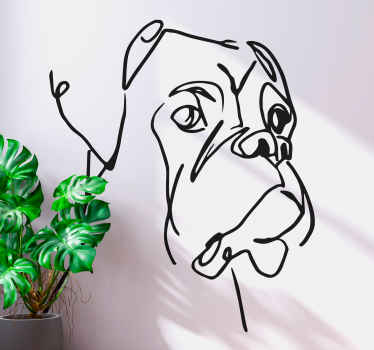Sticker with the illustration of the silhouette of Minimalist Boxer Dog with an original, tender style, ideal for you to decorate the walls.
