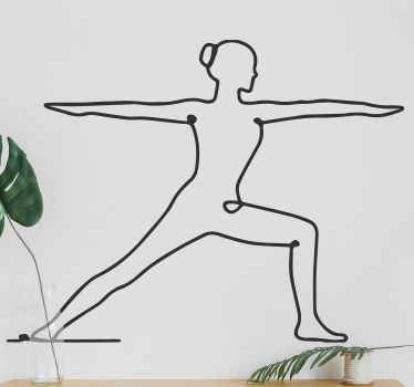 Wall sticker with the illustration of a silhouette of a woman doing a yoga pose, ideal for you to decorate the walls of any room at home.