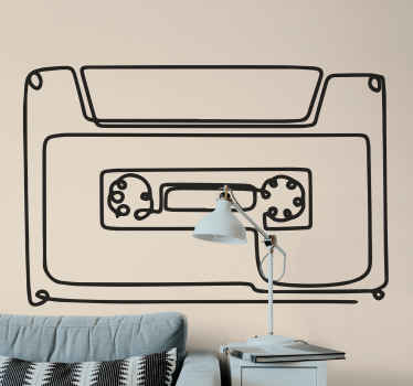 Minimalist cassette musical sticker - If you are a lover of the 80's retro style, you would love this retro cassette tape music decal.
