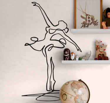 Beautiful artistic wall art decal illustrating a bailer girl dancer dancing in a lovely dance pose position. Made of quality and easy to apply.