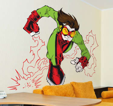 Colourful comic style sticker of a hero with superpowers performing an attack. Brilliant vinyl for the little ones to decorate their room.