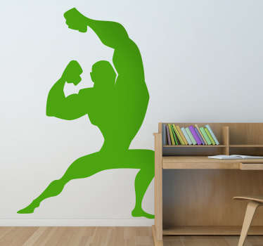 Kids Wall Stickers - Comic style silhouette illustration of a strong male character with big muscles striking a pose.