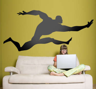 Kids Wall Stickers - Comic style silhouette illustration of a strong male character with big muscles leaping in the air.