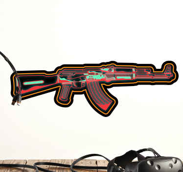 Gaming neon weapon video game sticker - For teenagers, kids room and other place decoration. The video game home decal is design with neon colour.