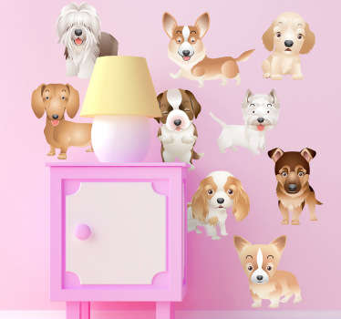 A set of nine adorable stickers of miniature puppies, ideal for dog lovers and decorating children's bedrooms if they love dogs and animals.