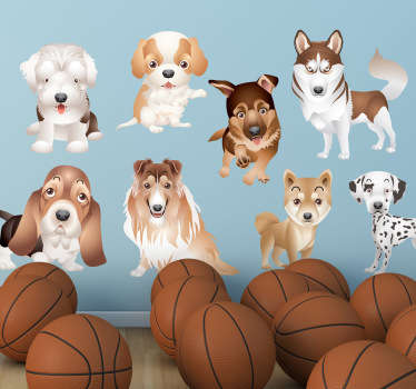 A collection of puppy designs to decorate the bedroom or play area of the little ones. These dog stickers are perfect to create a fun atmosphere.