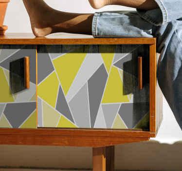 このグレーと黄色の幾何学的な家具デカールであなたの家具スペースを包みます。あなたはあなたの家具に存在するデザインの外観を気に入るはずです。
