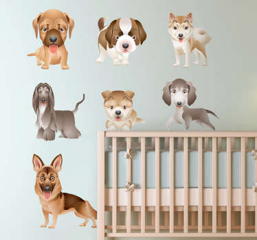 Decals - Collection of puppy designs. Various playful and cute illustrations of puppies to decorate any space. Set of nine stickers.