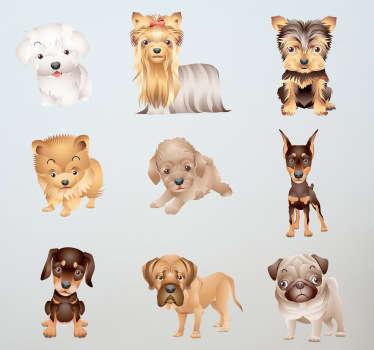 Set di stickers decorativiche raffigura novecucciolidicane Le misure indicate sono riferite all'insieme degli adesivi