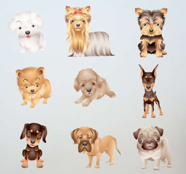 Muurstickers kinderkamer lieve honden kinderkamer