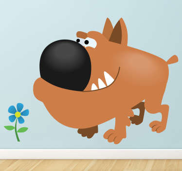 Kids Wall Stickers; Playful and fun illustration of a brown bull dog sniffing a small blue flower. Ideal for decorating for kids bedrooms