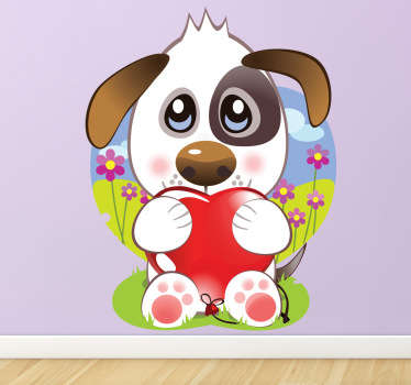 Kids Wall Stickers-Playful and adorable illustration of a cute puppy dog holding a red heart.