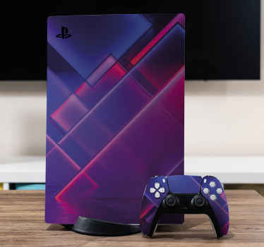 Modern futuristic neon background PS5 sticker to decorate a PlayStation device. Easy to apply and can be removed anytime you want it off.