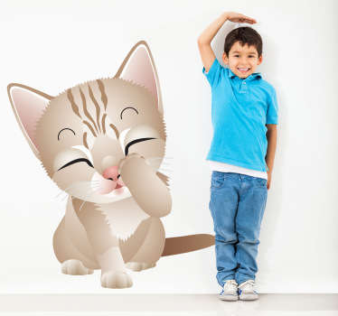 Kids Wall Stickers - Playful and adorable illustration of a kitten.  Ideal for decorating areas for kids; bedrooms, nurseries and play areas.