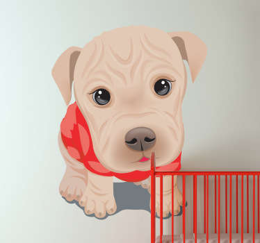 Kids Wall Stickers - Adorable and cute illustration of a puppy. Heart warming feature ideal for decorating kids; bedrooms, nurseries and play areas.