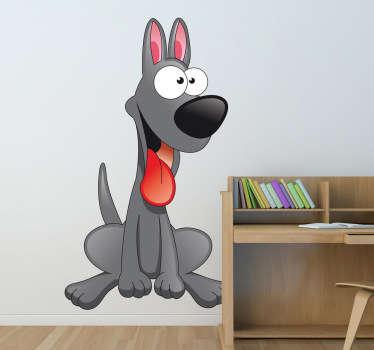 Sticker grijze vrolijke hond