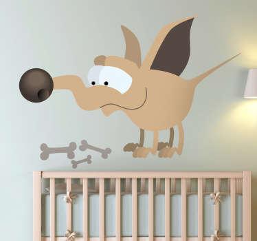 Sticker enfant chien os