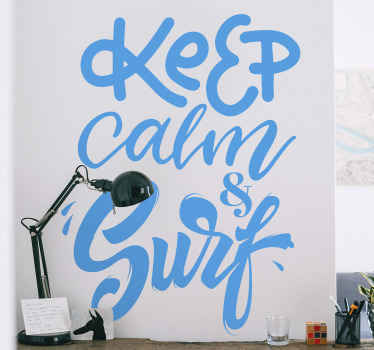 Decorate your space with our self adhesive surfing sport text decal. This lovely  and stylish text design says '' Keep calm and surf'.
