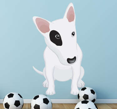 Kids Wall Stickers - Playful illustration of a white pit-bull puppy with a black eye. Great for decorating kids bedrooms, nurseries and play areas.