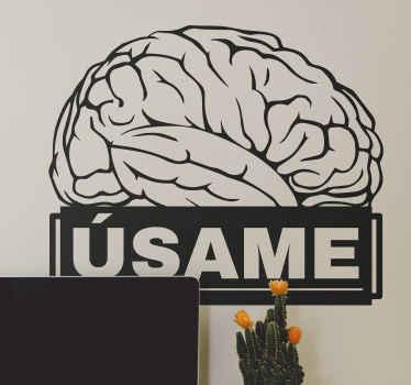 """Frase vinilo pared de oficina que ilustra la estructura del cerebro en el color que elijas y con la frase que dice """"úsame"""" ¡Elige medidas!"""
