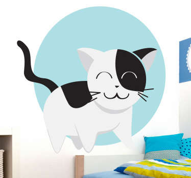 Sticker kinderkamer vrolijke kat