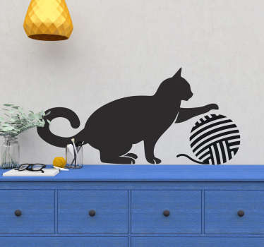 Kids Wall Stickers - Silhouette of a cat play with a ball of wool. Playful design suitable for all ages. Available in 50 colours and in various sizes.