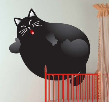 Kids Wall Stickers - Playful and funny illustration of a large black cat sitting back and relaxing.