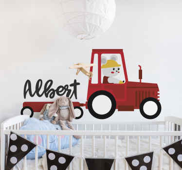Customizable name original children toy tractor decal for kids bedroom. Lovely design illustrating a red tractor with a boy riding with a happy face.